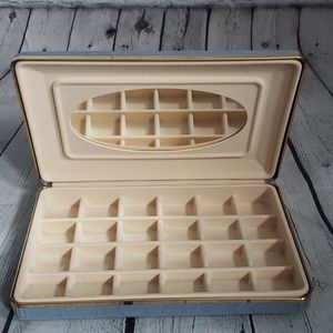 VINTAGE JEWELRY BOX WITH COMPARTMENTS & MIR